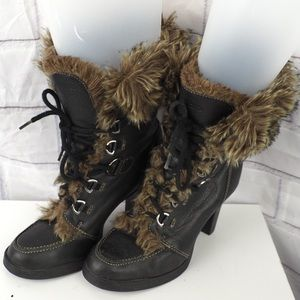 Aldo 39 brown heeled fur trim leather laced boots